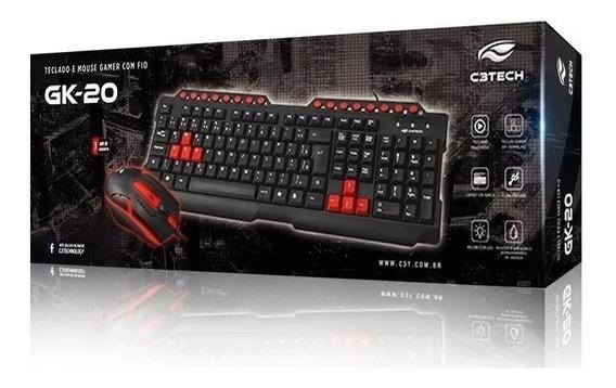 Teclado E Mouse Gamer C3tech Gk-20bk Usb - Pronta Entrega