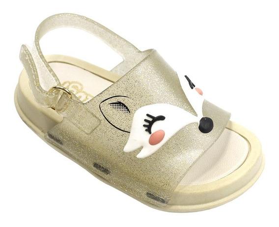 Sandália Plugt Mini Bizz Raposa Gliter - Creme