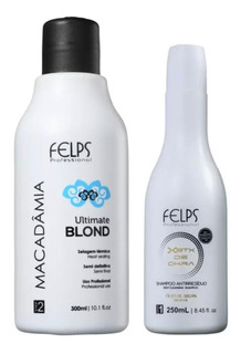 Felps Macadâmia Ultimate Blond Selagem Térmica 300ml + Shampoo Anti Residuo Brinde