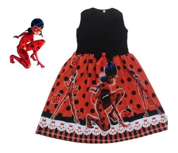 Vestido Infantil Ladybug Miraculous Malha Roupa/fantasia
