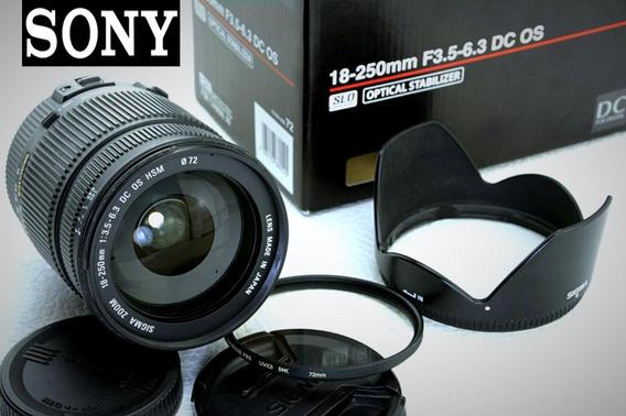 Lente Sigma .p/ Sony 18-250mm Dc Hsm Oss Impecável .na Caixa
