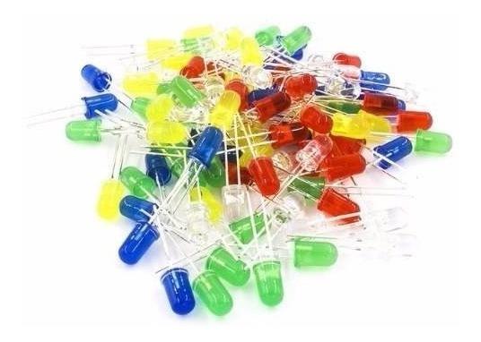 Kit 100 Peças Led 5mm Azul, Vermelho, Verde, Branco, Amarelo