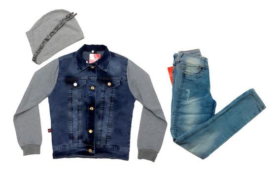 Conjunto Infantil E Juv Fem Calça Jeans + Jaqueta Tendência