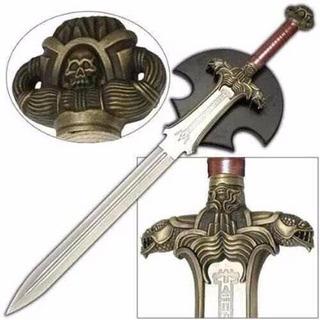 Espada Em Aço Conan O Barbaro Tamanho Real + Suporte Parede