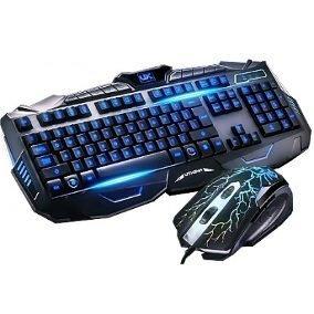 Teclado Gamer Multimídia Com Mouse Iluminadas Com Fio V100