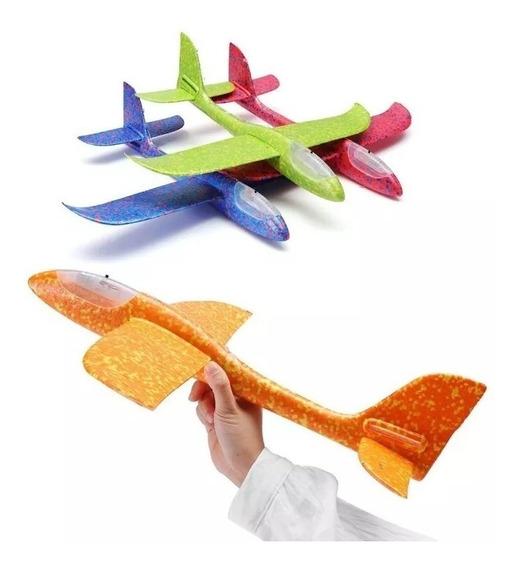 Aeromodelo Planador Manual Avião Com Led Isopor Flexível