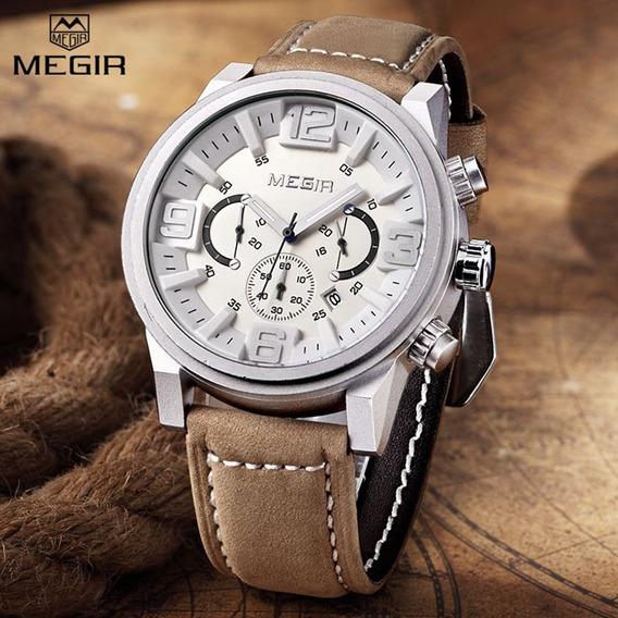Relógio Masculino Megir 3010 Cronográfo Original + Brinde