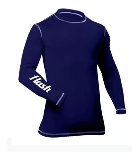 Remera Camiseta Térmica Flash Niños Azul Mangas Largas 0830