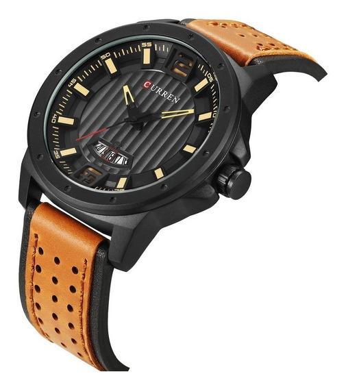 Relógio Masculino Curren Luxo Pulseira Em Couro Aço Inox