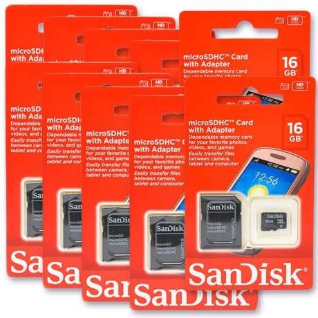 Kit 5 Cartão De Memória 16gb Sandisk Original Lacrado Oferta