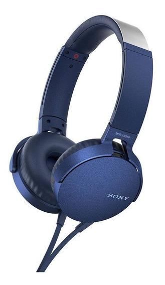 Fone De Ouvido Sony Mdr-xb550apl Headphone Extra Bass Azul