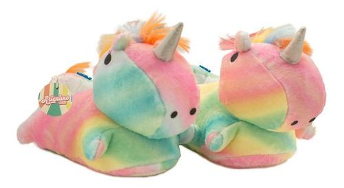 Pantufla Unicornio Peluche Doble Abrigo Nena Niña Artentino
