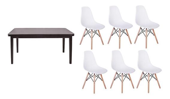 Kit Mesa De Jantar Holanda 160x80 Preta + 06 Cadeiras Eiffel