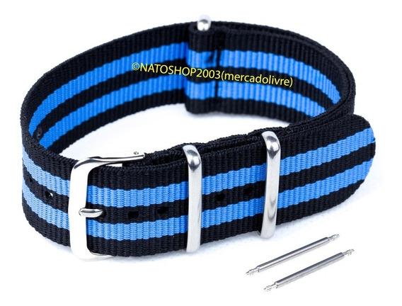 Pulseira Relógio Nato Nylon 22mm Preto Azul 3 Anéis