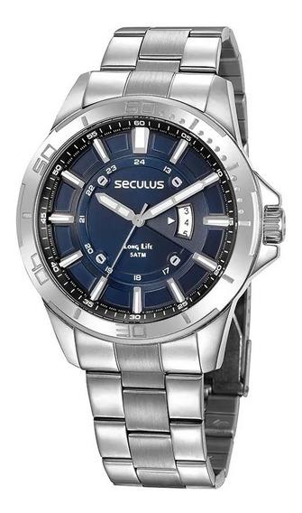 Relógio Masculino Seculus Prata 35023g0svna2 Visor Azul