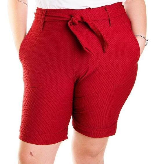 Bermuda Feminina Plus Size Com Forro Cintura Alta Com Cinto