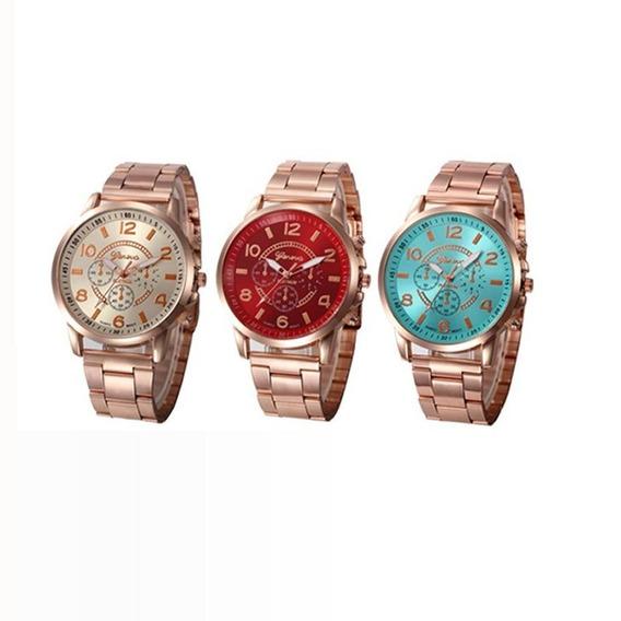 3 Relógio Feminino Com Caixa M D F Geneva Aço Inoxidável