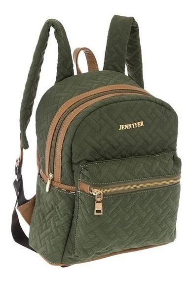 Bolsa Mochila Backpack Bolso Verde 8190 Jennyfer Original