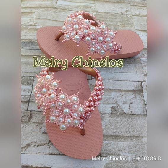 Chinela Customizada Flor Top Noivass, Mamães