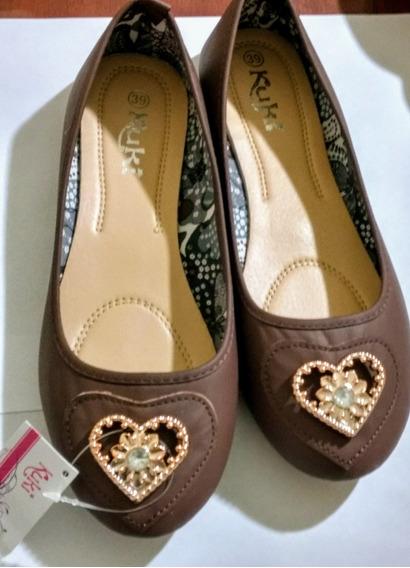 Zapato Marrón Chato Chatitas Número 39