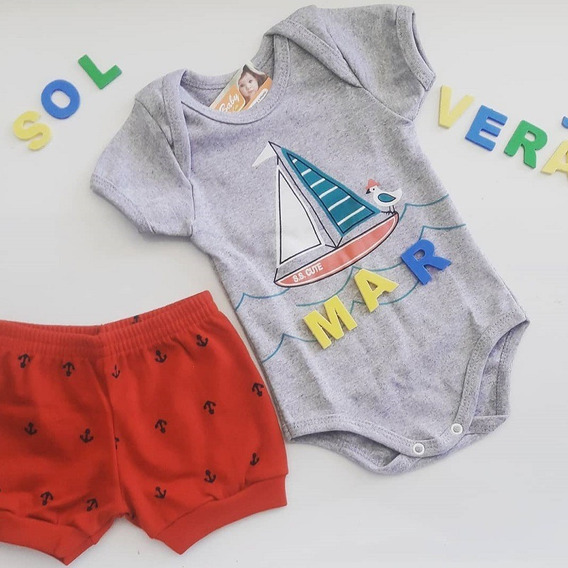 Conjunto Bebe Body Manga Curta Short Estampado