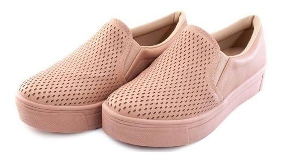 Sapatênis Flatform Lançamento Confortável Nude Slip Sola Alt