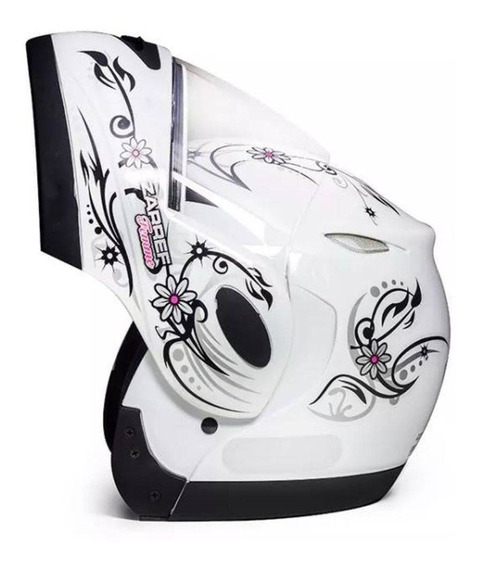 Capacete Moto Feminino Taurus Zarref V4 Femme Branco Tam 56