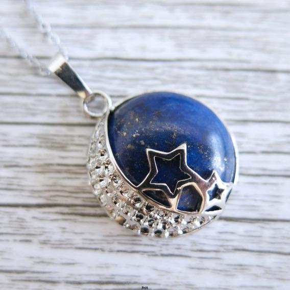 Collar Cuarzo Auténtico Luna Estrellada Lapislazuli Acero