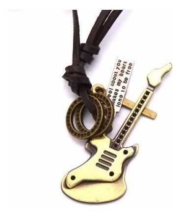 Colar Cordão Guitarra Vintage Masculino Couro Legítimo