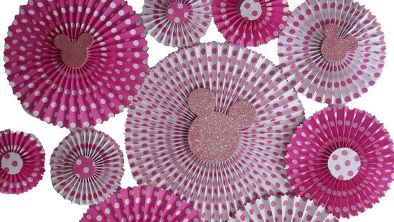 15 Rosetas Flores De Papel Cartulina Estampada