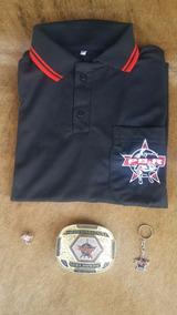 Camisa Preta Inspirada Pbr +fivela +bóton +chaveiro Iper Top