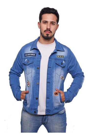 Customs Ba Camperas Hombre De Jean Campera Con Parches Bryan