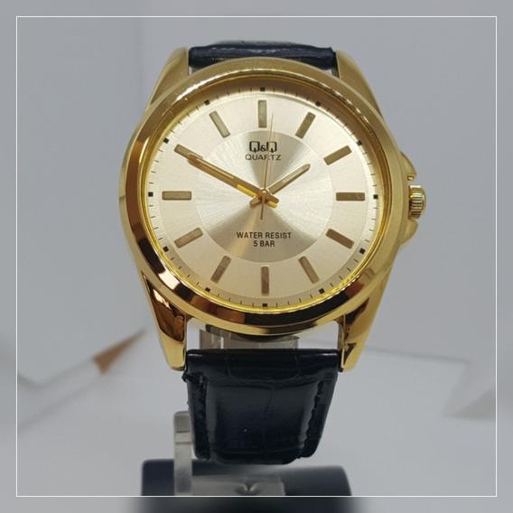 Relógio Masculino Dourado Couro Preto Champanhe Grande Q&q