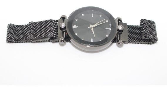 Relógio Feminino Masculino Pulseira Magnética Preto Aço Inox