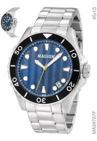 Relógio Magnum Masculino Prata Ma34727f Fundo Azul