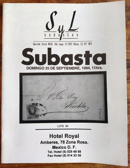 Mexico Catalogo Subasta S Y L Sep 1994 Literatura Esencial P