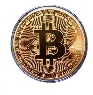 Bitcoin Bit Coin Moneda Dorada + Estuche