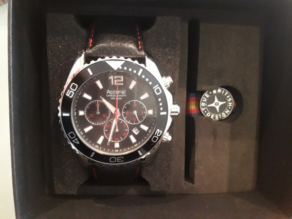 Relógio Accurist Ms946bb.01 Preto Crono Pulseira Couro