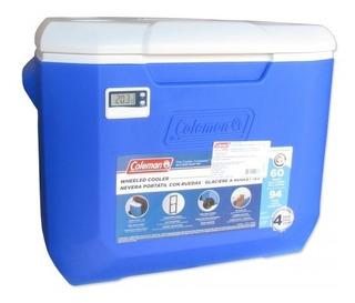 Caixa Térmica C/ Rodas E Termômetro 56,8 L Coleman - Azul