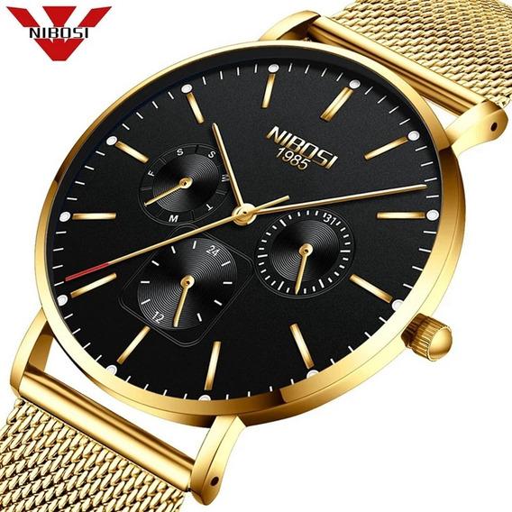 Relógio Nibosi Unissex Fem/ Masculino 2321-1 Dourado C/ Pret