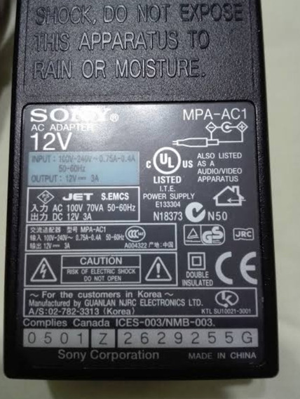 Fonte Sony 12v 3a Mpa-ac1 Evi-d100 Evi-d70 Evi-d80p Evi-d70p