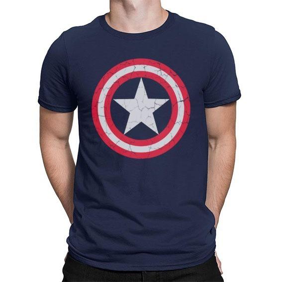 Camisa Camiseta Capitão América Escudo Desgaste Steve Roger