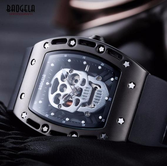 Relógio Baogela Original Esqueleto Caveira Prata + Carteira