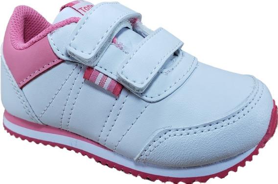 Topper Theo Bebe Velcro Blanca/rosa Niñas Megacaseros