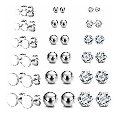 Imagen 1 de 6 de Jewelrieshop - Juego De Aretes Redondos De Acero Inoxidable