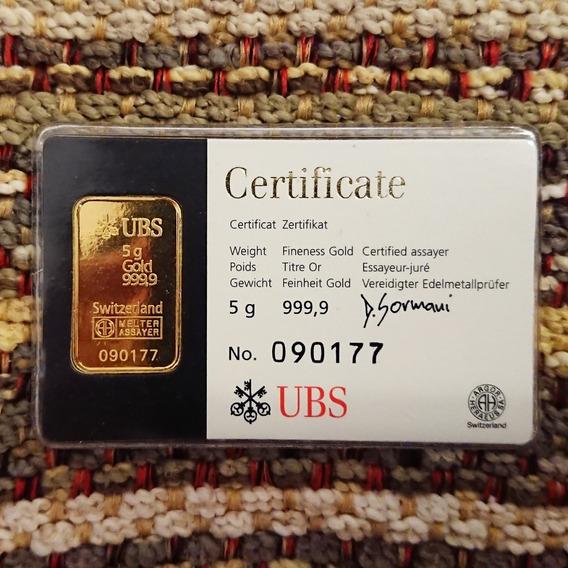 Lingote De Oro 5 Gramos - 24 K - Certificado Numerado