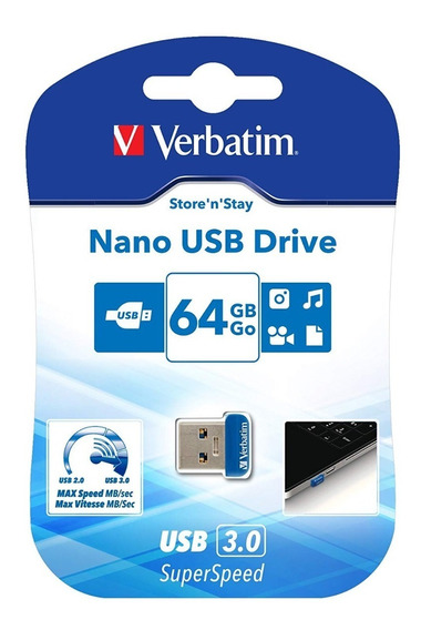 Pendrive Verbatim Nano 64 Gb Usb 3.0 Automotivo Notebook