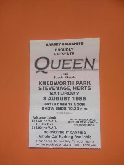 Queen Memorabilia Ingresso Original Show Em Knebworth, 1986