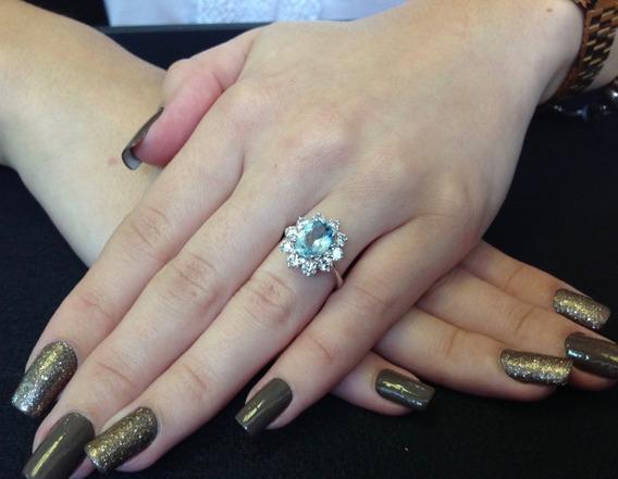 Anel Ouro Branco Agua Marinha E Diamantes