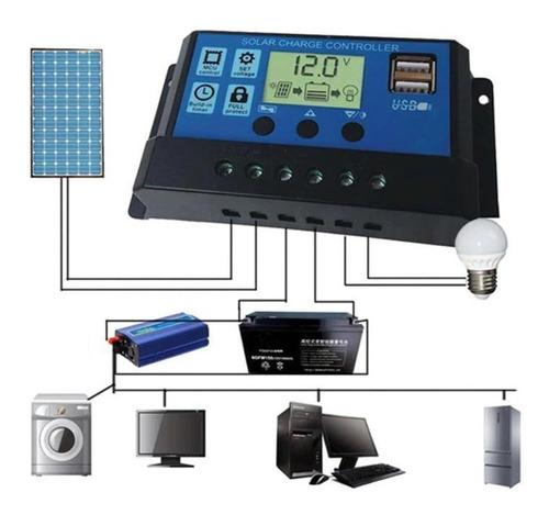 Regulador De Carga Solar 12 - 24 V Hasta 30 A Pantalla Lcd